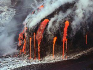 Lava enters the sea.