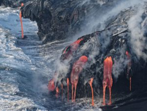 Lava enters the sea.